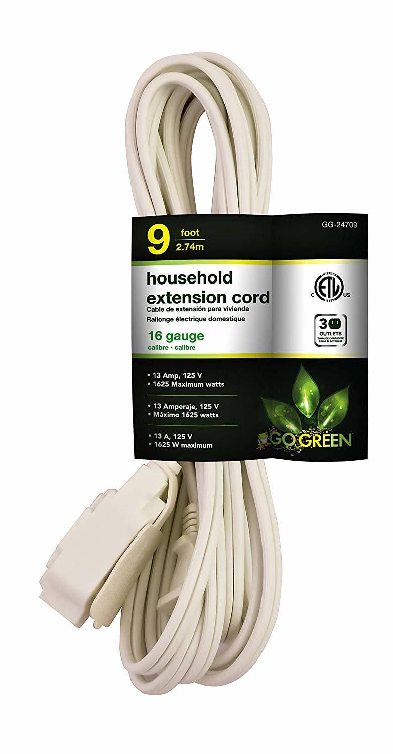 GoGreen Power Household Extension Cord - White, 9'
