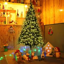 Fiber Optic Led Christmas Tree 7ft by Costway 7 Ft Pre Lit Artificial Christmas Tree W 350 Led Lights