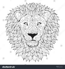Hand Drawn Lion Head Isolated On Transparent Background Anti Stress Coloring Page Vector Monochrome