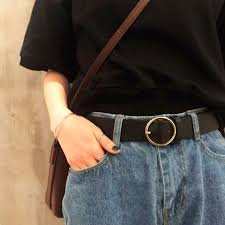 ItGirl Shop ROUND BUCKLE BLACK LEATHER VINTAGE BELT Aesthetic Apparel Tumblr Clothes Soft Grunge