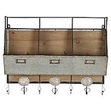Image Of Kate And Laurel Arnica Rustic Wall Storage With Hooks In Brown