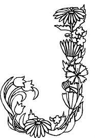 Alphabet Flowers Letter J Coloring Pages
