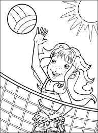 Girl Playing Beach Volleyball Coloring Page