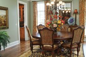 Side Table Flower Arrangement Dining Room Traditional With Upholstered Chair Wood Floor