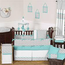 Sweet JoJo Designs Grey and Turquoise Zig Zag 9 Piece Crib Bedding