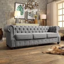 Armen Living Barrister Sofa by Grey Tufted Sofa Armen Living Barrister Sofa Gray Velvet Black