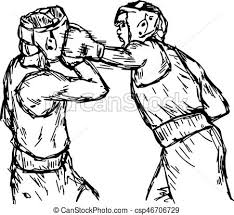 Fighting Boxers With Boxing Head Guard
