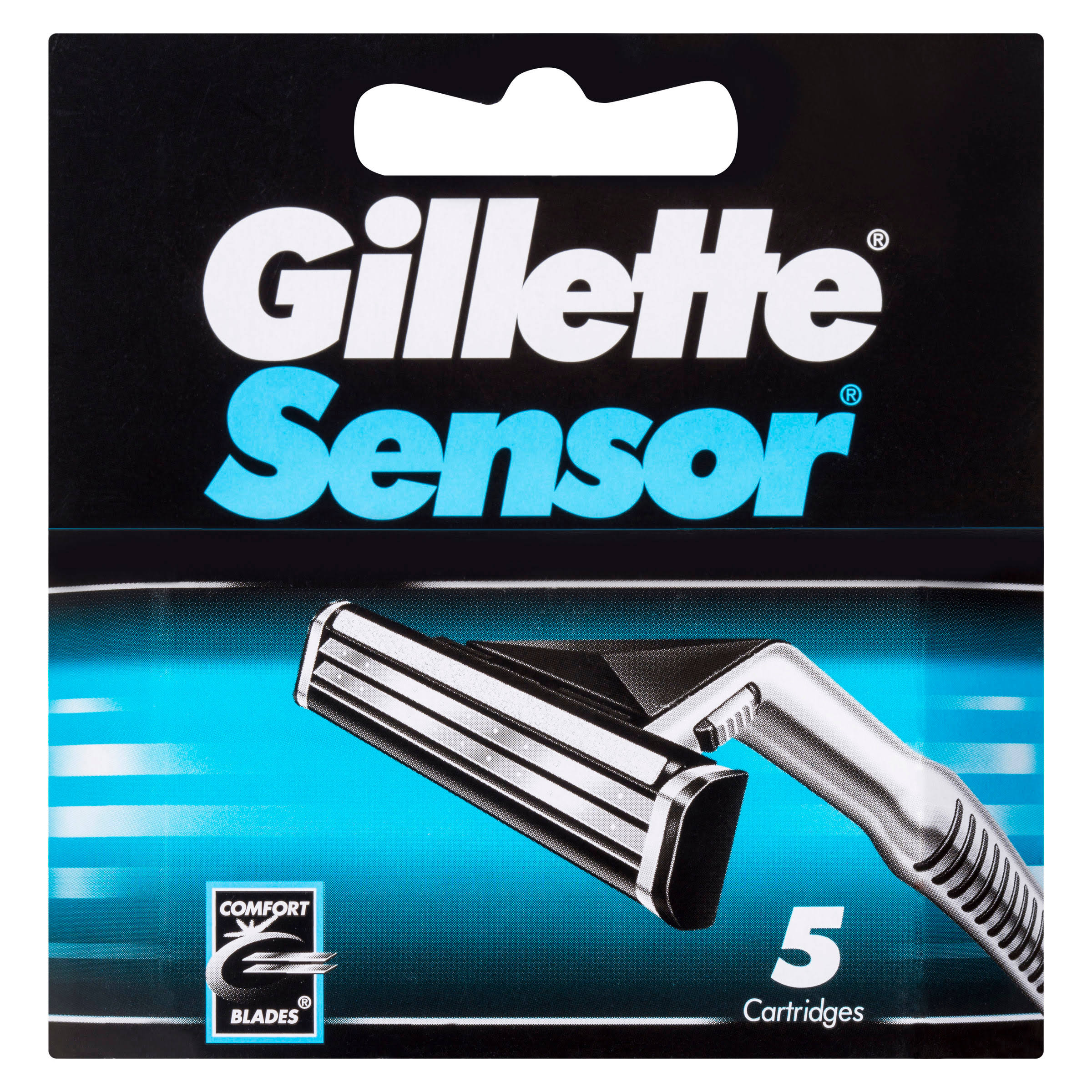 Gillette Sensor Shaver Replacement Cartridges - 5 Self-Adjusting Twin Blade Cartridges
