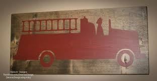 Firefighter Sign, Firefighter Decor, Distressed Wood Sign, Firetruck ...