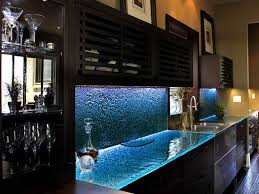 100 Kitchen Glass Countertop S In Blue Colors Under Brown Cabinets With Lighting