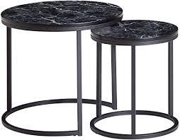 finebuy design beistelltisch 2er set schwarz marmor optik rund couchtisch 2 teilig tischgestell metall kleine wohnzimmertische moderne