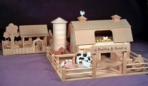 a western farm with a ranch house woodworking plan