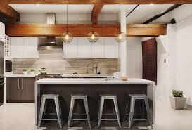 kitchen island pendant lighting in an inspired penthouse