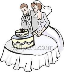 Bride and Groom Cutting a Wedding Cake Royalty Free Clipart Picture