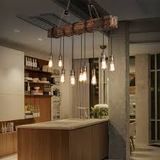 Meigar 110V Farmhouse Style Wood Beam Pendant Chandelier Lighting Fixture Kitchen Room Bar Hotel Industrial DecorNot Included The Bulbs