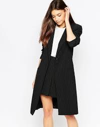 vila longline blazer jacket in black lyst