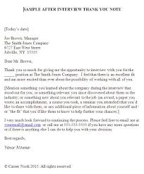 Writing Job fer Thank You Letter How To Write A Job Interview
