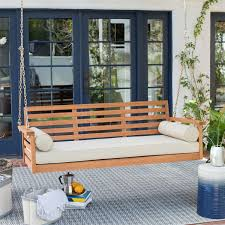 Simple Swing Deep Seat Wood Porch Outdoor Bed With Cushion And 2 Bolster Pillows Inside