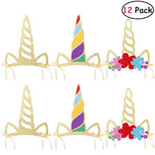 TINKSKY 12 Pcs Unicorn Horn Party Hats Kids Glitter Party Supplies For Birthday Baby Shower Unicorn Theme Party