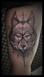 Amazing Geometric Wolf Tattoo By Tyago Compiani