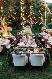 Outdoor Rustic Wedding Reception Ideas With Hanging Lights