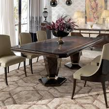 Art Deco Inspired Walnut And Leather Dining Table