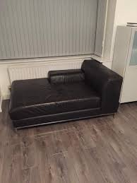 ikea kramfors real leather chaise lounge 2 3 seater sofa in