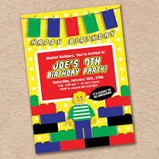 Lego Birthday Party Invitation Awesome Primary Colors