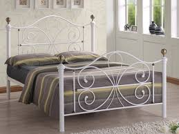 White Metal Bed Frame With Antique Brass 4ft 6 Double Camilla In