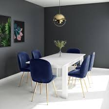 White Extendable Dining Table With 6 Gold & Blue Velvet Chairs - Vivienne &  Jenna Small Round Ding Table In Black With 4 Teal Blue Velvet Chairs Rhode Island Kaylee Remarkable Navy Set Tufted Uptown Chair Silver Leaf Including Modern Lovely Pink Upholstered Gold Room Metal Frame Of 2 Extraordinary Covers Slipcovers A Rustic Elegant Thanksgiving Eclectic Living Room Home White Extendable 6 Vivienne Jenna Belinda Ding Chair Navy Khamila Fniture Store Kallekoponnet Kitchen Design Tiffany Slate Amusing