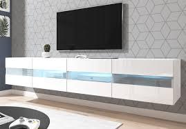 tv lowboard rial in weiß hochglanz hängend 200 x 35 cm mit led beleuchtung