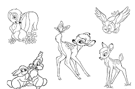 Disney Characters Of Bambi Coloring Pages