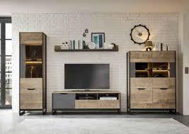 places of style wohnzimmer set malthe 4 tlg im trendigen design 1 große vitrine 1 lowboard 1 wandboard 1 kleine vitrine
