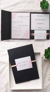 Blush Pink And Black Pocket Wedding Invitation Set For 2016