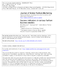 PDF) Success Indicators In Various Fashion Business Models