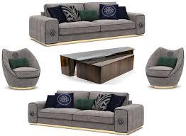 casa padrino luxus wohnzimmer set grau braun 2 sofas 2 sessel 1 couchtisch set edle wohnzimmermöbel luxus möbel