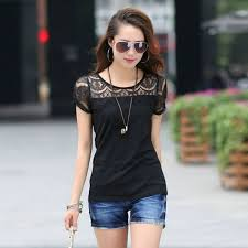 New Fashion Lace Carved Patchwork Lady CVC T Shirt 2014 Tops Plus Size Women Slim