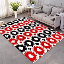 neue teppiche große für wohnzimmer spielkarten schlafzimmer teppiche schwarz rot weiß boden matte mode matte