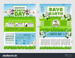 Earth Day Save Planet Information Poster Template Green Tips To Text Layout