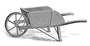 Vintage Clip Art – Old Fashioned Wooden WheelBarrow