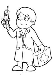 Doctor Holding Epydermic Needle Coloring Page