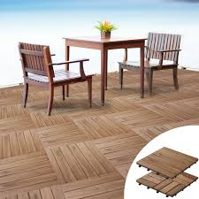 interlocking wooden decking tiles acacia wood garden spaces