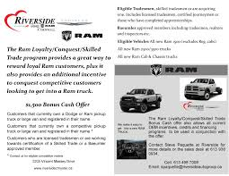 100 Trade Truck For Car Ram LoyaltyConquestSkilled Bonus Cash Offer Riverside
