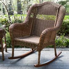 Indoor/Outdoor Patio Porch Walnut Resin Wicker Rocking Chair ... Resin Wicker Porch Rockers Easy Care Rocker Charleston Rocking Chair Camel Back Chairs Set Of Two White Summer Outdoor Belwood With Floral Cushions 3pc Cushion And End Table Faux Book Pocket Coral Coast With Khaki The Portside Plantation All Weather Tortuga