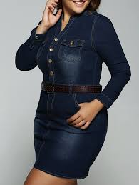 plus size belted v neck fitted jean shirt dress deep blue xl in
