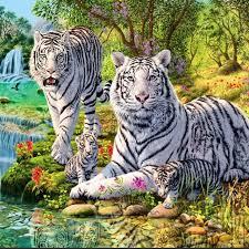 Pintura Diamante 5d Tigre Blanco Familia Ronda Room Decor Diy Del Taladro