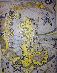 Starry Cat Colored By Kate McAlister Page Is From Creative Cats Coloring BooksAdult