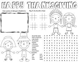 THANKSGIVING Placemat Thanksgiving Activities Printables For Kids Free