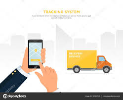 100 Truck Tracking System Closeup Of A Persons Hand Holds Smartphone For Tracking Delivery