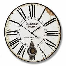 Large Caledonian Railway Rustic Wooden Pendulum Wall Clock